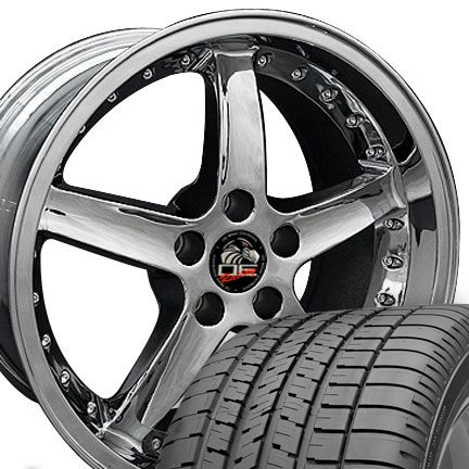 18 9 10 Chrome Cobra Style Wheels Goodyear F1 Tires Rims Fit Mustang